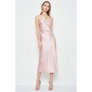 NWT Satin like midi lace back dress